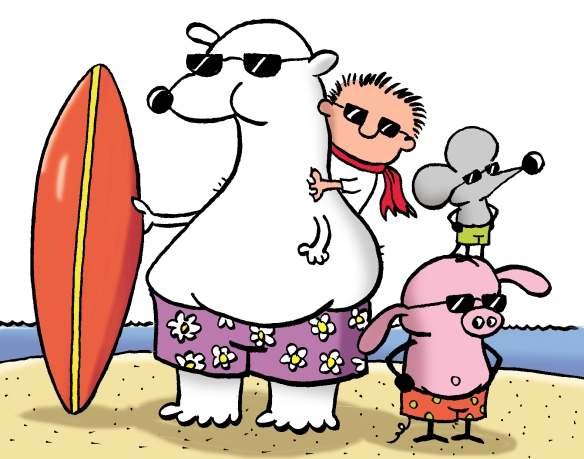 timmy and total (with rat and pig) at beach copy copy